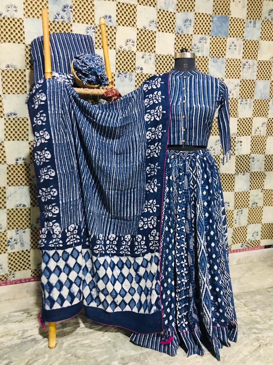 Buy gorgeous blue ethnic Bagru print cotton skirt set online in USA with dupatta. Elevate your ethnic style with a tasteful collection of designer Anarkali suits, designer salwar suits, Indian lehengas, sharara suits from Pure Elegance Indian clothing store in USA.-full view