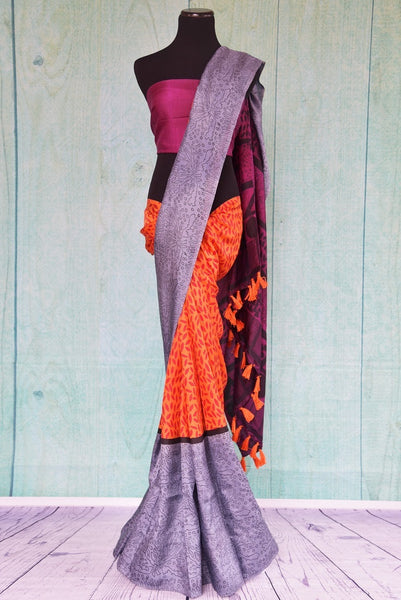 90C535 Orange & Lavender Hand Printed Pure Silk Saree