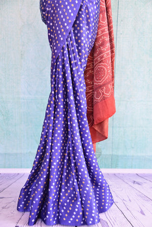 90C552 Gajji Silk Purple Bandhej & Ajrak Saree