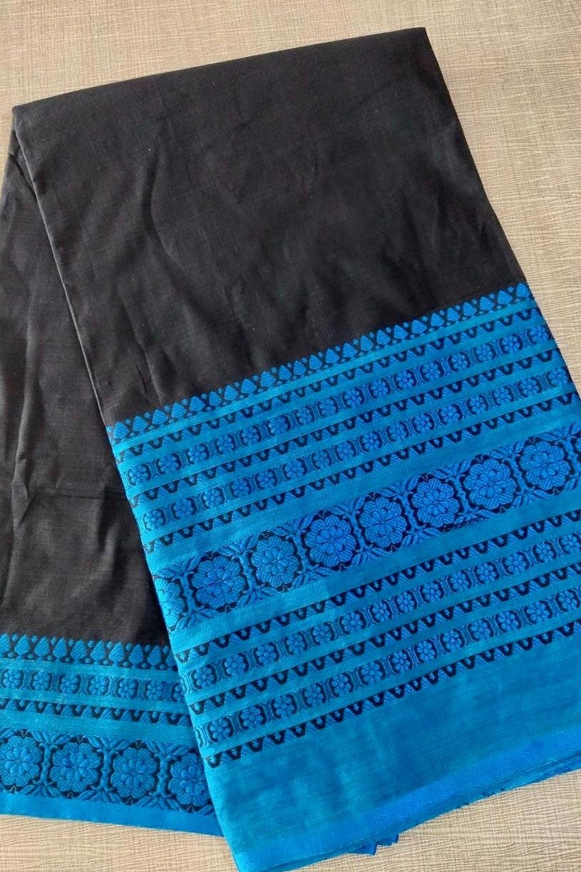 90Z196-RO Black Mulmul Cotton Saree with Blue Border