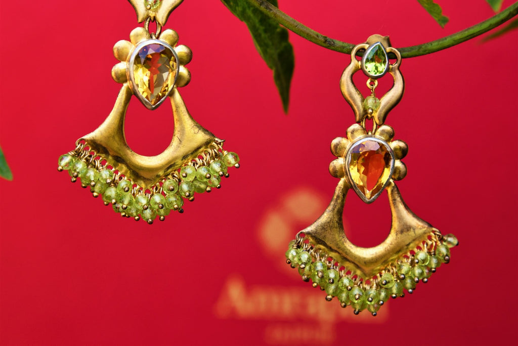 Buy silver gold plated Amrapali citrine earrings online from Pure Elegance. Our fashion store brings alluring range of Indian silver gold plated jewelry in USA for women.-closeup