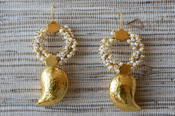 20A766 Silver Gold Plated Earrings With Small Pearls