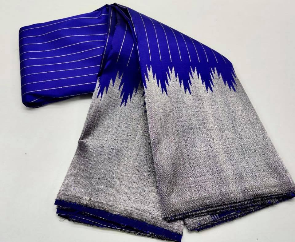 Shop blue and silver temple border Kanjivaram saree online in USA. Be the talk of parties and weddings with exquisite designer sarees, embroidered sarees, pure silk saris, handwoven sarees from Pure Elegance Indian clothing store in USA.Shop online now.-full view