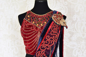 Buy navy blue embroidered fancy net saree with red blouse online in USA from Pure Elegance. Choose from a range of exclusive Indian designer sarees, wedding saris, embroidered sarees in beautiful styles and designs from our Indian fashion store in USA and flaunt your tasteful sartorial choices on special occasions.-blouse pallu