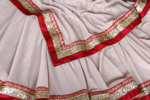 90A602 Cream Shimmer Satin Saree with Red Embroidered Border