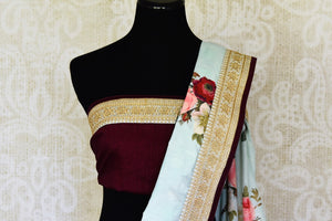 Shop beautiful powder blue floral Muga saree online in USA with embroidered border. Shop the latest Indian women clothing and designer sarees for weddings and special occasions from Pure Elegance Indian clothing store in USA.-blouse pallu