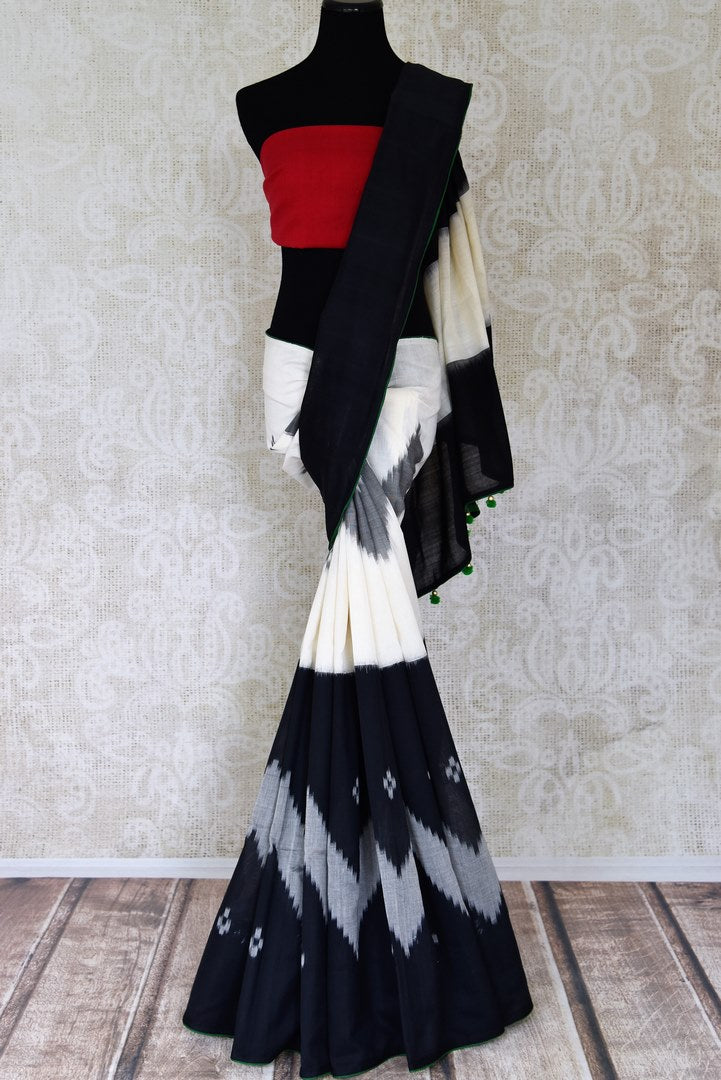 Buy gorgeous black and white ikkat cotton saree online in USA. Shop beautiful handwoven sarees for weddings and special occasions from Pure Elegance Indian clothing store in USA.-full view