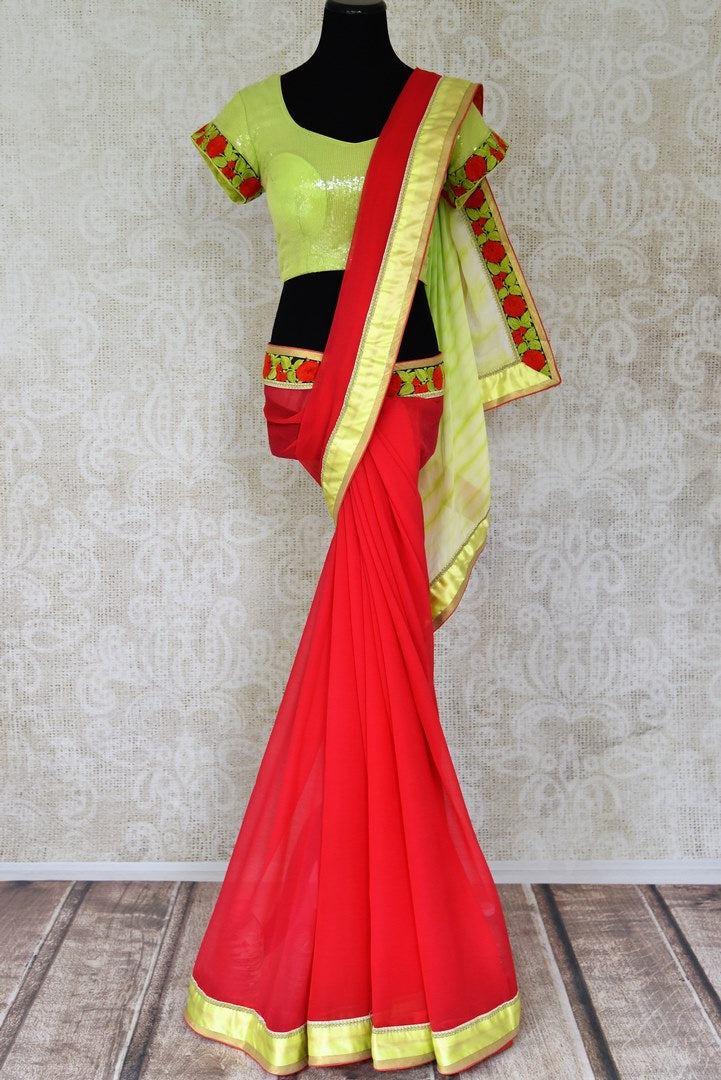 Buy red chiffon saree online in USA with neon green saree blouse. Shop the latest designer saris for weddings and special occasions from Pure Elegance Indian clothing store in USA.-full view