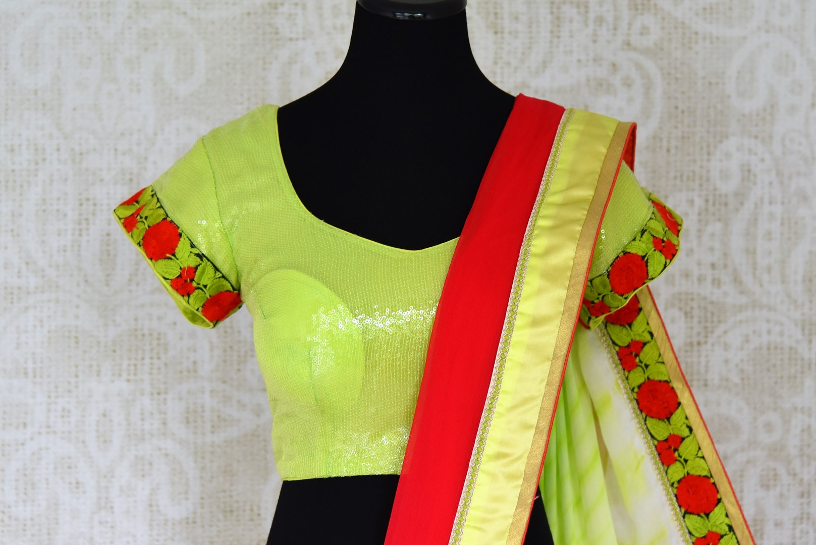 Buy red chiffon saree online in USA with neon green saree blouse. Shop the latest designer saris for weddings and special occasions from Pure Elegance Indian clothing store in USA.-blouse pallu