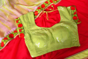 Buy red chiffon saree online in USA with neon green saree blouse. Shop the latest designer saris for weddings and special occasions from Pure Elegance Indian clothing store in USA.-details