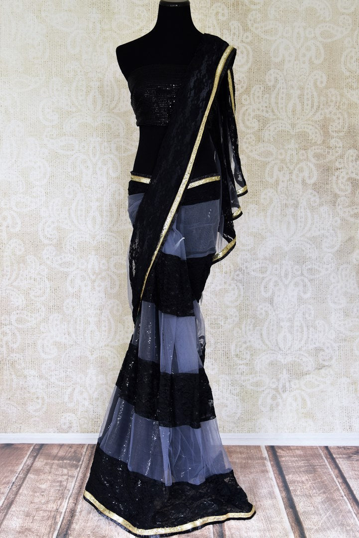 Shop black and grey net designer saree online in USA. Shop beautiful designer sarees for weddings and special occasions from Pure Elegance Indian clothing store in USA.-full view