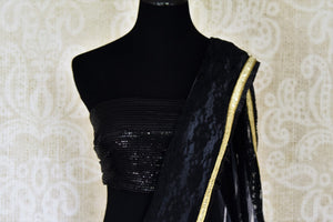 Shop black and grey net designer saree online in USA. Shop beautiful designer sarees for weddings and special occasions from Pure Elegance Indian clothing store in USA.-blouse pallu