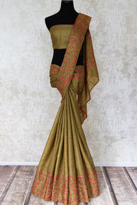 Buy olive green embroidered tussar silk saree online in USA. Shop beautiful designer sarees for weddings and special occasions from Pure Elegance Indian clothing store in USA.-full view