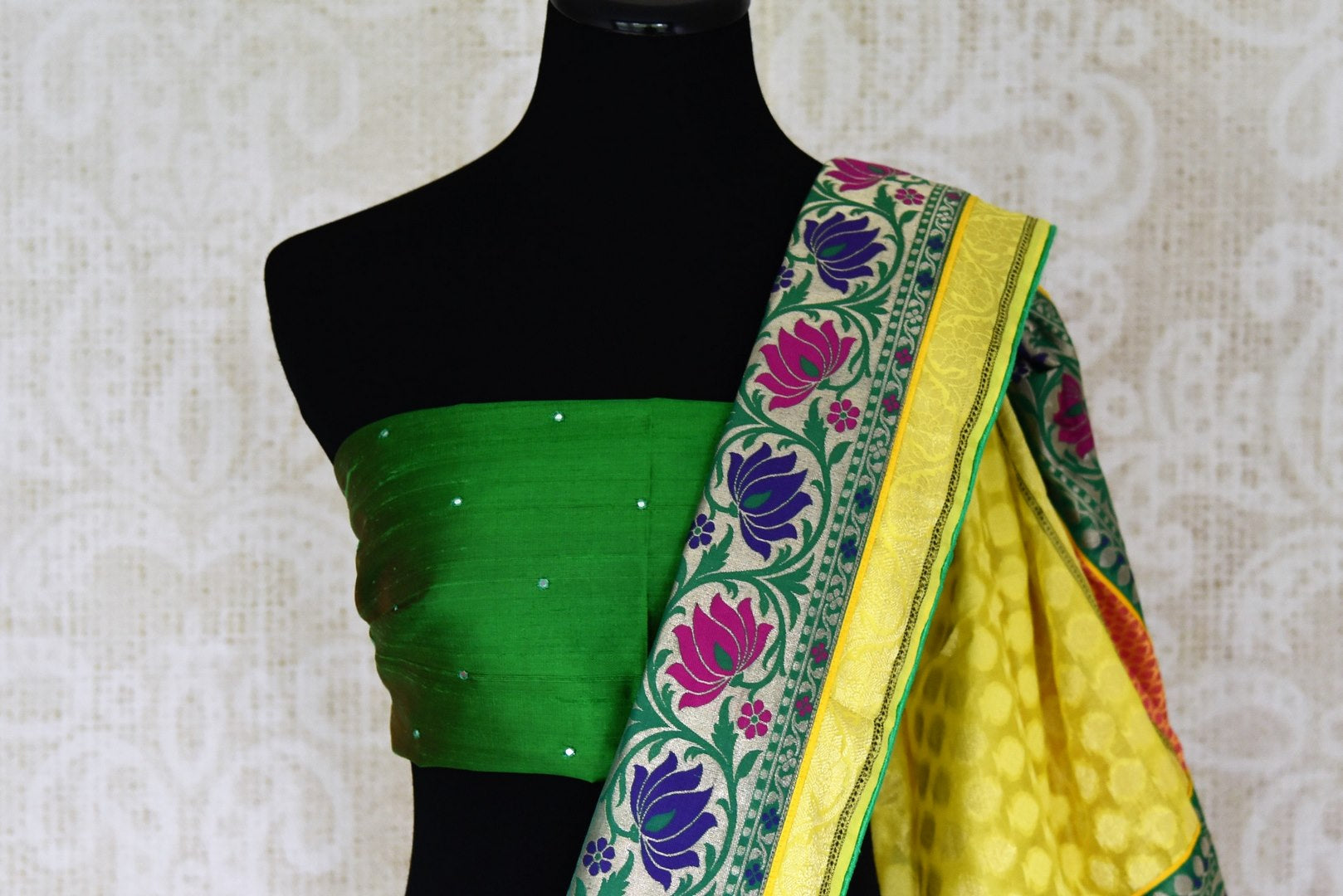 Buy bright yellow silk saree online in USA with floral zari minakari border. Shop the latest Indian women clothing and designer sarees for weddings and special occasions from Pure Elegance Indian clothing store in USA.-blouse pallu