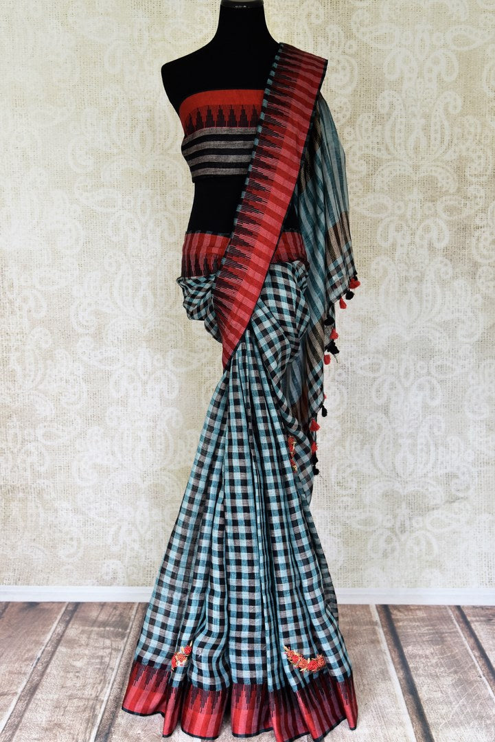 Buy blue and black check linen saree online in USA with hand embroidery. Shop the latest Indian women clothing and designer sarees for weddings and special occasions from Pure Elegance Indian clothing store in USA.-full view