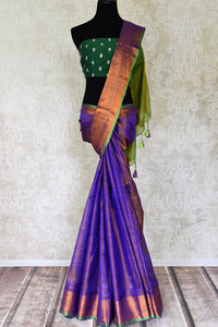 Shop blue Uppada silk saree online in USA with gold zari border. Shop the latest Indian women clothing and designer sarees for weddings and special occasions from Pure Elegance Indian clothing store in USA.-full view