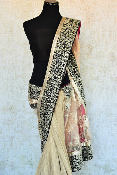 90A959 Shop this ravishing matka tussar lace saree online at our store ethnic fashion store in USA - Pure Elegance. This beige, black and gold saree will be a lovely addition to your Indian party wear sarees collection and sure to have you looking breathtakingly beautiful!