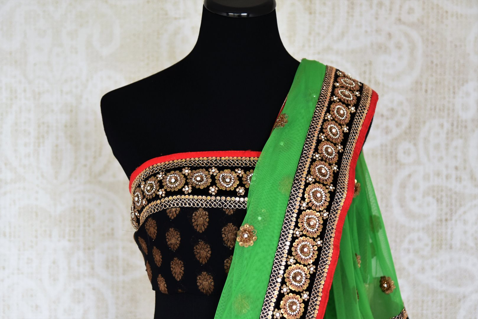 Shop green net and black georgette half n half embroidered saree online in USA from Pure Elegance. Let your ethnic style be one of a kind with an exquisite variety of Indian handloom sarees, pure silk sarees, designer sarees from our exclusive fashion store in USA.-blouse pallu