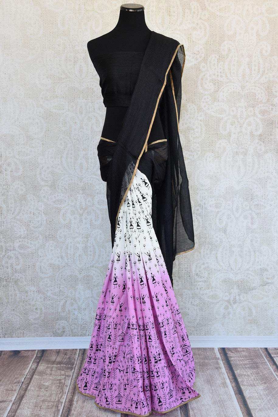 90b045 Designer pure cotton saree in wine Pink and white colours. The half n half printed saree comes with kota check black pallu and is available at our online ethnic clothing store in USA - Pure Elegance.