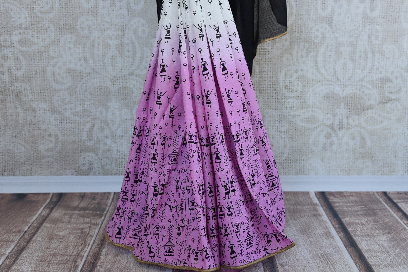 90b045 Printed cotton saree from India in wine pink and white shades. The half n half saree comes with kota check black pallu and can be bought at our online Indian clothing store Pure Elegance in USA.