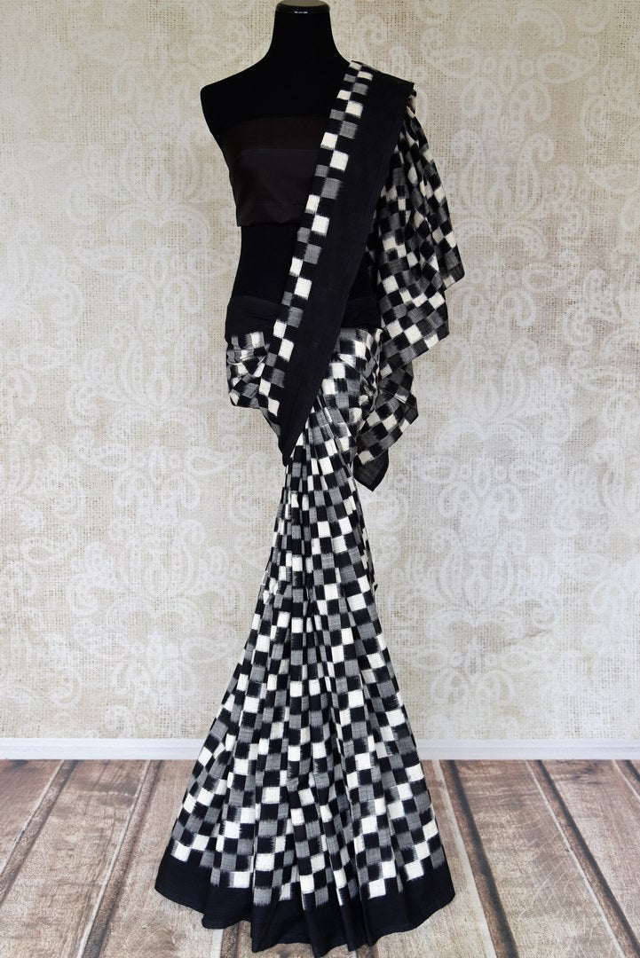Shop black grey and white square ikkat cotton saree online in USA. Shop more such exquisite Indian handloom saris in USA from Pure Elegance. Get floored by a range of designer sarees, pure silk sarees, Kanchipuram silk saris at our Indian fashion store in USA.-full view