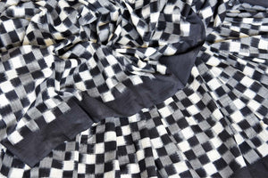 Shop black grey and white square ikkat cotton saree online in USA. Shop more such exquisite Indian handloom saris in USA from Pure Elegance. Get floored by a range of designer sarees, pure silk sarees, Kanchipuram silk saris at our Indian fashion store in USA.-details