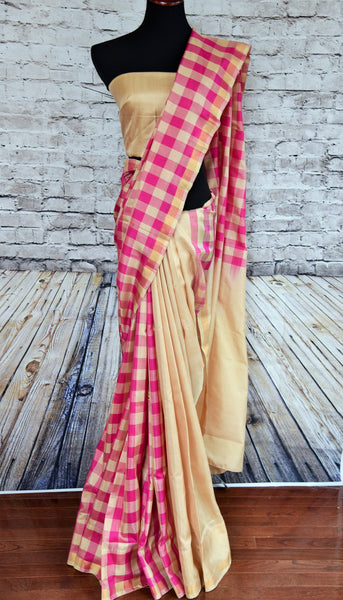 90b394 Buy this beautiful Banarasi saree online at our ethnic store online in USA - Pure Elegance. The half checked, half plain sari is versatile and perfect to wear for parties and Indian festive occasions.