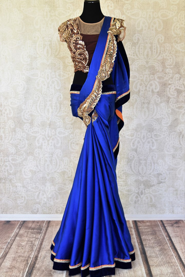 Shop royal blue crepe silk embroidered designer saree with blouse online in USA from Pure Elegance. Let your ethnic style be one of a kind with an exquisite variety of Indian handloom sarees, pure silk sarees, designer sarees from our exclusive fashion store in USA.-full view
