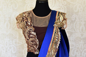Shop royal blue crepe silk embroidered designer saree with blouse online in USA from Pure Elegance. Let your ethnic style be one of a kind with an exquisite variety of Indian handloom sarees, pure silk sarees, designer sarees from our exclusive fashion store in USA.-blouse pallu