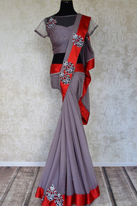 Shop grey applique and stonework chiffon saree with blouse online in USA from Pure Elegance. Let your ethnic style be one of a kind with an exquisite variety of Indian handloom sarees, pure silk sarees, designer sarees from our exclusive fashion store in USA.-full view