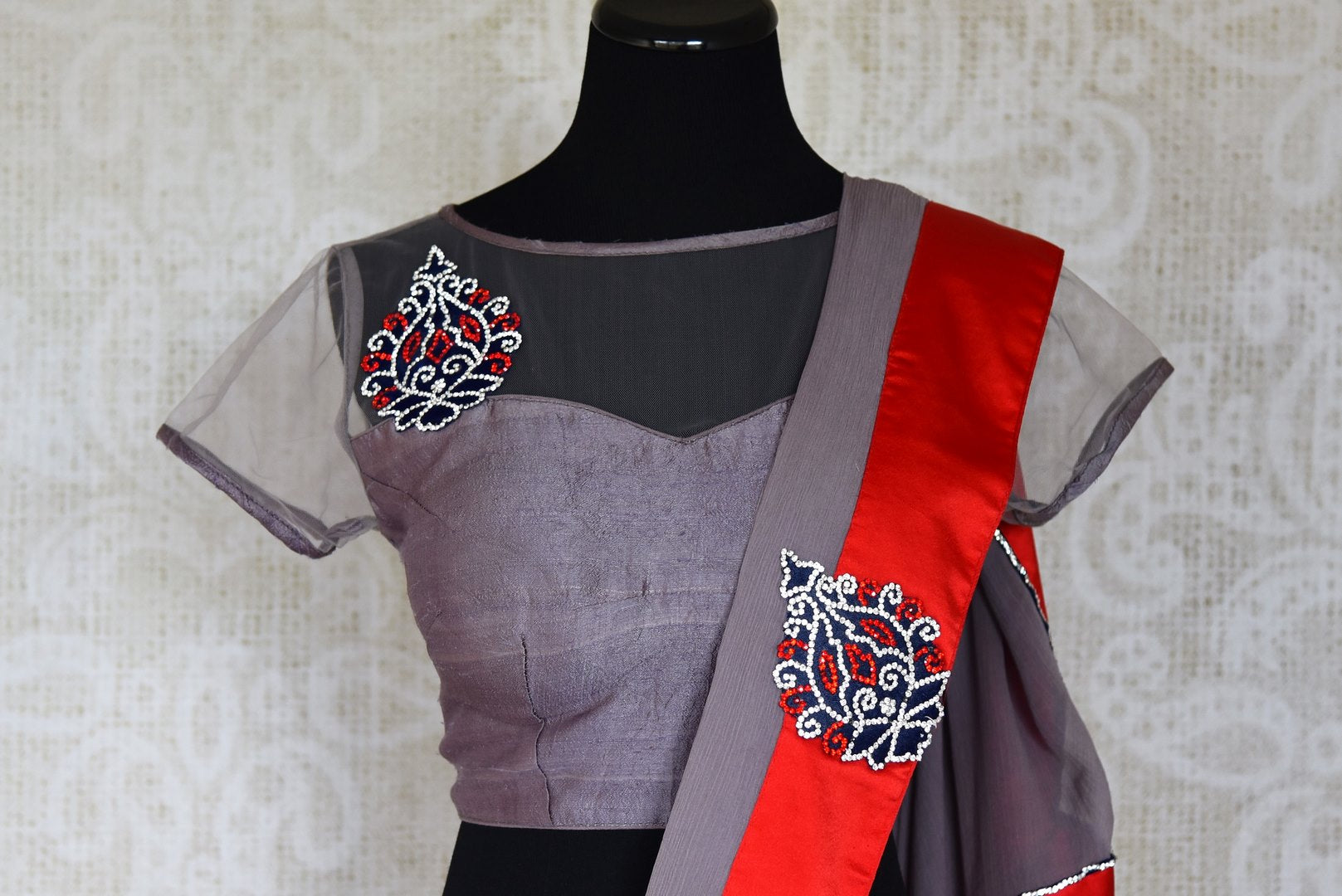 Shop grey applique and stonework chiffon saree with blouse online in USA from Pure Elegance. Let your ethnic style be one of a kind with an exquisite variety of Indian handloom sarees, pure silk sarees, designer sarees from our exclusive fashion store in USA.-blouse pallu