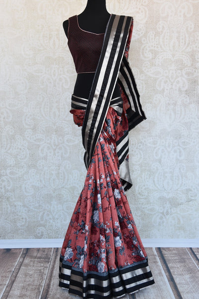 90b624 Shop this traditional Indian floral saree at Pure Elegance. The printed multicolor maroon matka silk sari with designer blouse is a classic ethnic outfit you will love for years to come.