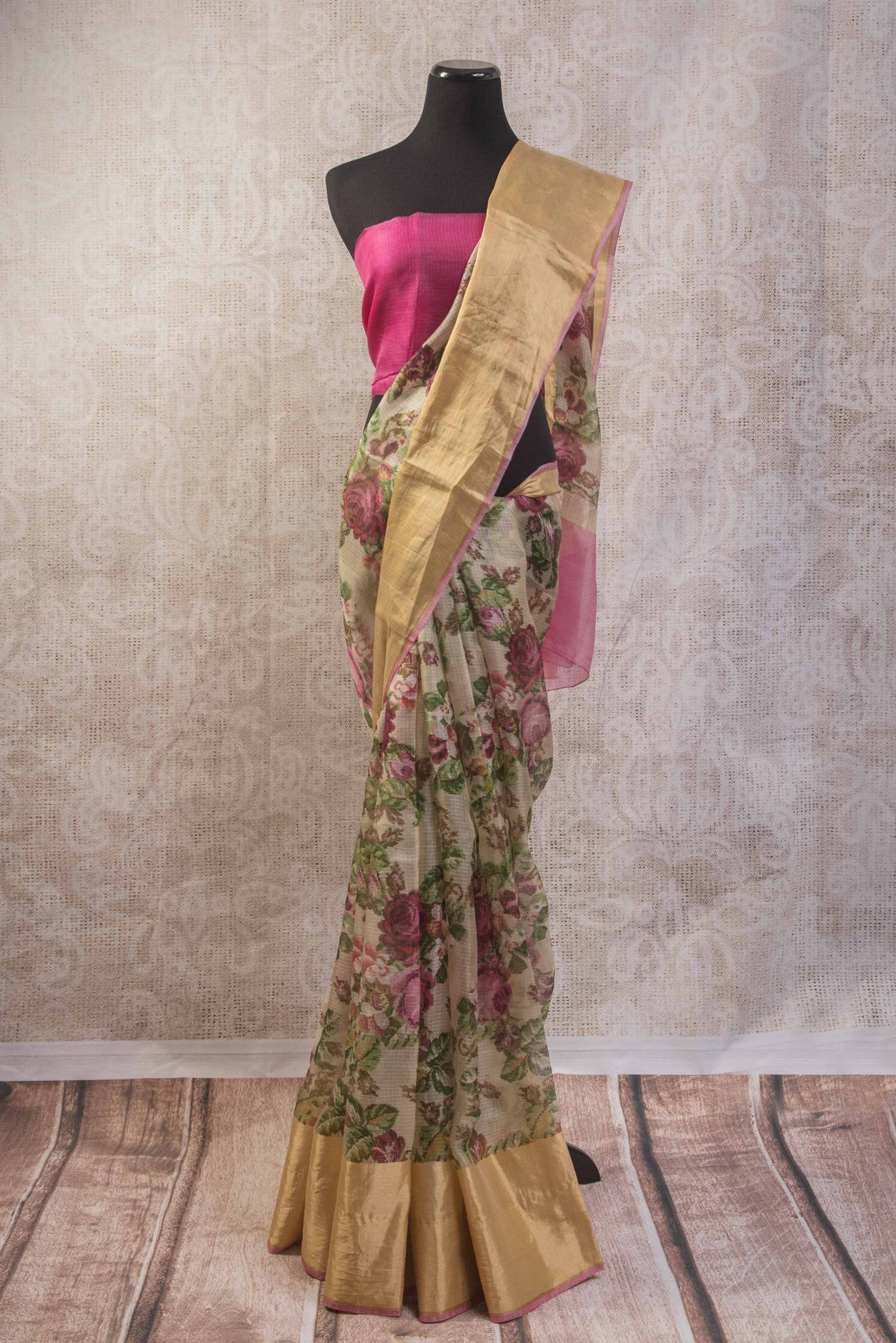 90b745 Lovely floral print light zari kota saree online in USA at our store Pure Elegance with gold trim border with an un-stiched pink blouse piece. A great pick for any occasion.