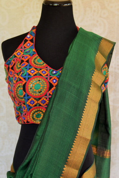 Beautiful green pure silk saree with gold trim border and stripes on pallu. Light weight casual saree.-pallu