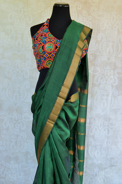 Beautiful green pure silk saree with gold trim border and stripes on pallu. Light weight casual saree.-Gold trim