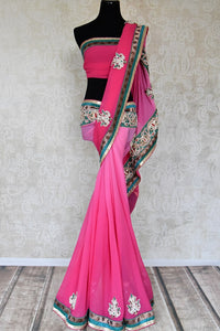 Buy pink embroidered fancy chiffon saree online in USA from Pure Elegance. Let your ethnic style be one of a kind with an exquisite variety of Indian handloom sarees, pure silk sarees, designer sarees from our exclusive fashion store in USA.-full view