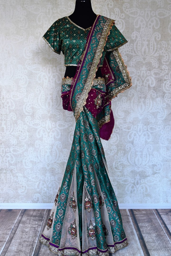 Buy sea green Banarasi and net embroidered saree with blouse online in USA from Pure Elegance. Let your ethnic style be one of a kind with an exquisite variety of Indian handloom sarees, pure silk sarees, designer sarees from our exclusive fashion store in USA-full view