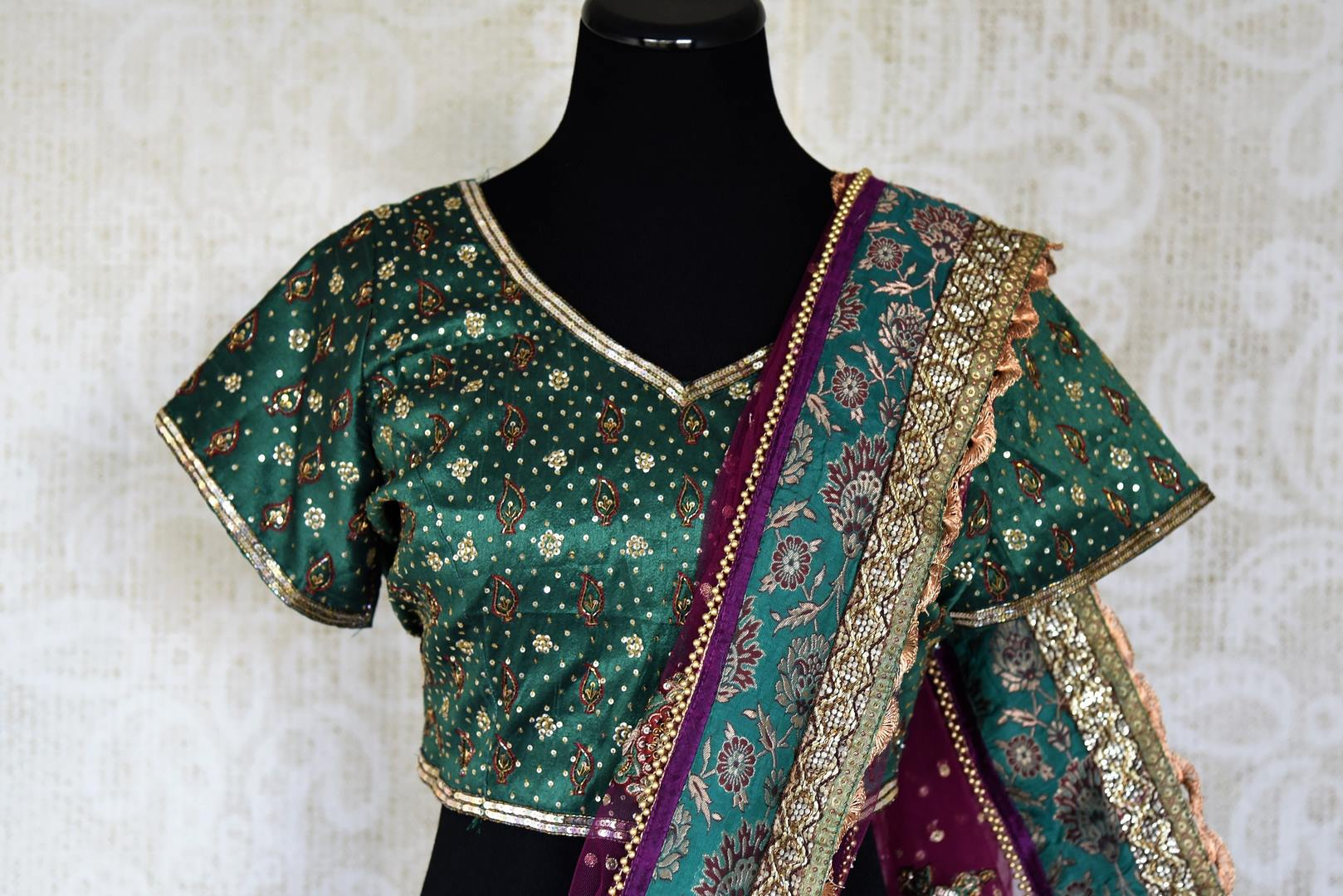 Buy sea green Banarasi and net embroidered saree with blouse online in USA from Pure Elegance. Let your ethnic style be one of a kind with an exquisite variety of Indian handloom sarees, pure silk sarees, designer sarees from our exclusive fashion store in USA-blouse pallu