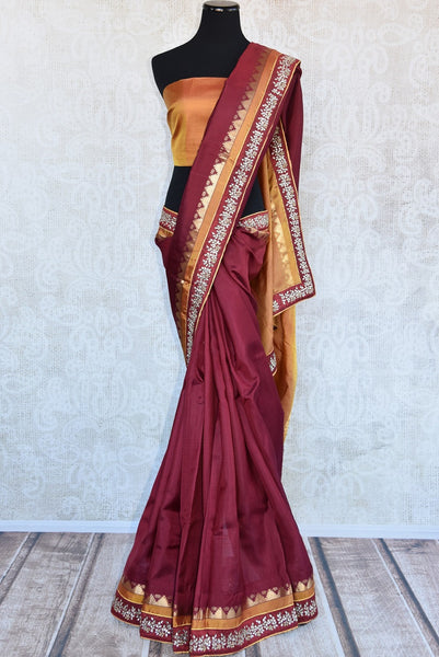90B815 Buy this traditional red & golden saree with kundan work on border online at our store - Pure Elegance in USA. The Bangalore silk saree is a perfect ethnic outfit for pujas and Indian weddings.