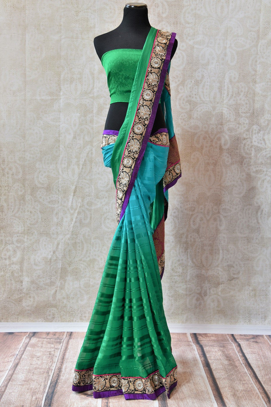 Buy green and blue shaded crepe saree with embroidered border and pink brocade pallu. Beautiful sari for casual parties.-Full view