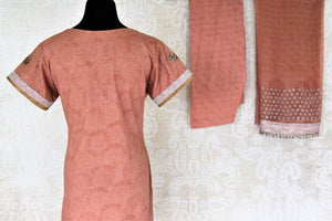 Buy dusty pink embroidered suit online in USA with dupatta. Choose from a beautiful range of Indian salwar suits, palazzo suits, sharara suits, Anarkali suits from Pure Elegance Indian fashion store in USA.-back