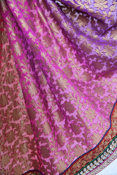 90B928 Royal bengal banarasi saree with linen embroidery can be bought online or from our Pure Elegance shop in USA. This saree is a lovely pick for traditional events and functions.