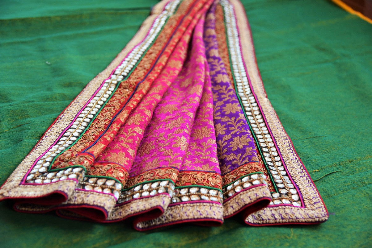 90B928 Royal bengal banarasi saree with linen embroidery can be bought online or from our Pure Elegance shop in USA. Buy this evergreen traditional saree today!