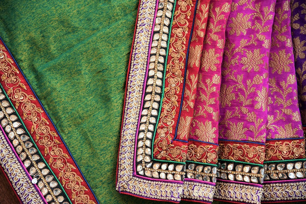 90B928 Royal bengal banarasi saree with linen embroidery can be bought online or from our Pure Elegance shop in USA. This classic ethnic saree is one you just can't go wrong with!