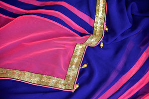 Buy dark blue georgette saree online in USA with pink embroidered net border from Pure Elegance. Let your ethnic style be one of a kind with an exquisite variety of Indian handloom sarees, pure silk sarees, designer sarees from our exclusive fashion store in USA.-details