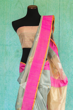 90b993-pink-silver-gold-saree-top-view