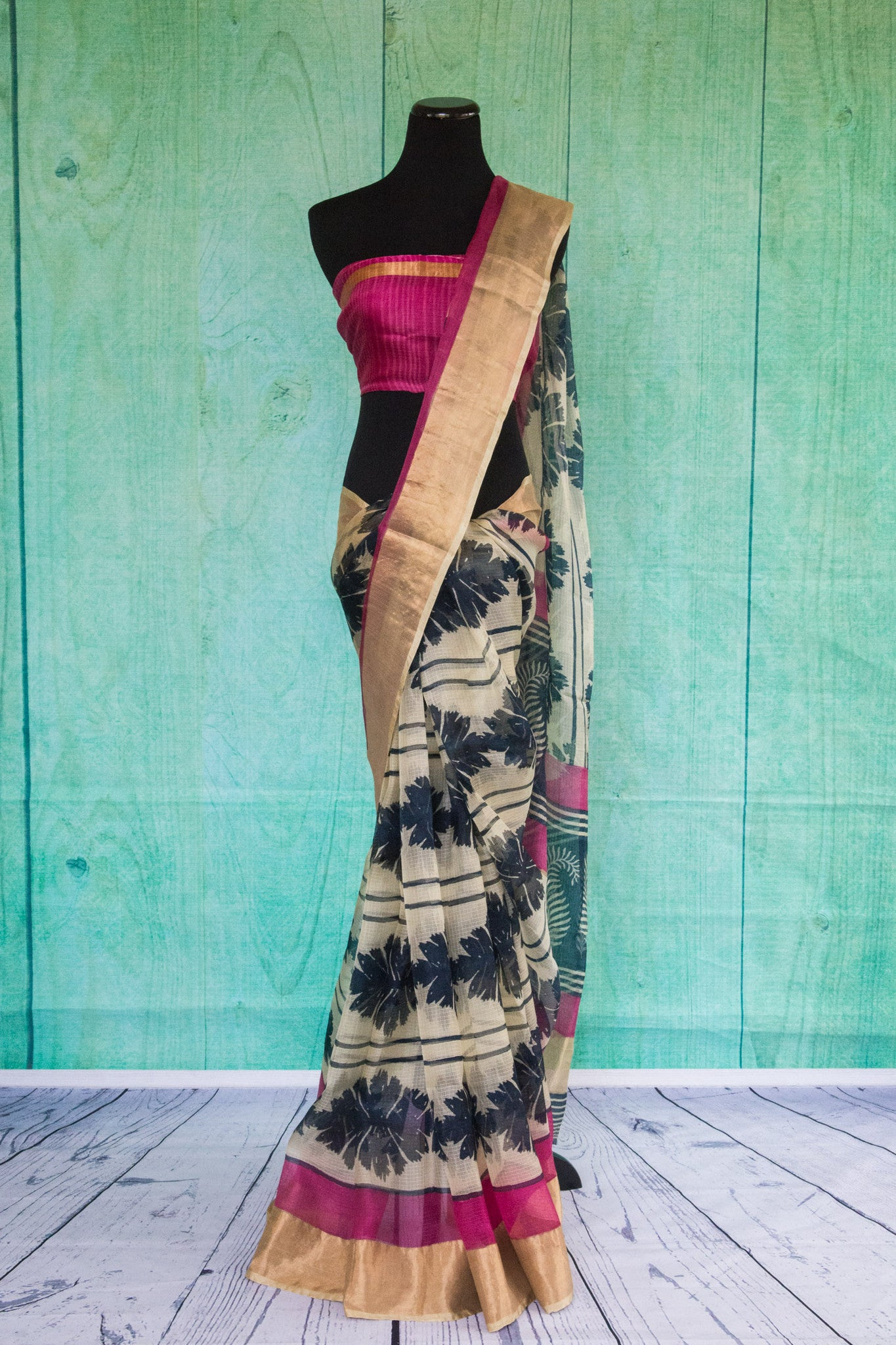 90c081 Printed black, white & pink sari with golden boder. The zari kota saree is ideal for parties, as well as festive Indian occasions. Buy this ethnic saree online at our Indian clothing store in USA.