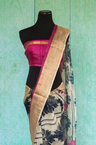 90c081 Black, white & pink sari with golden border. The zari kota saree is ideal for parties, as well as festive Indian occasions. Buy this printed saree online in USA at Pure Elegance - our Indian clothing store.