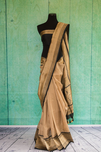 90c120 Sophisticated gold and black traditional woven saree from Banaras online USA. Buy this party wear saree at our Indian clothing store - Pure Elegance.