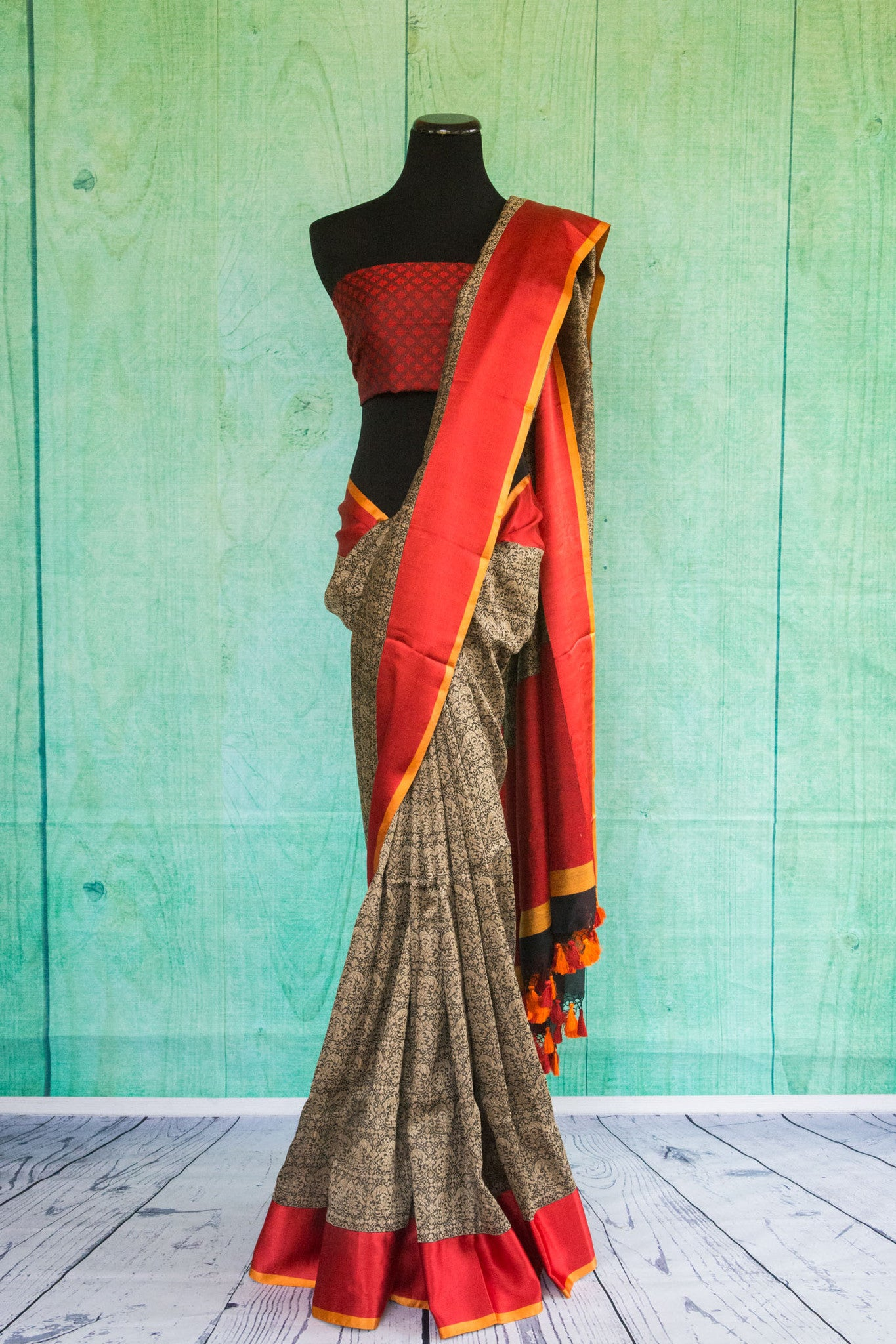 90c123 Traditional grey and red woven saree from Banaras. The Indian saree online in USA, with red border and red blouse is an evergreen pick for your Indian clothing collection.